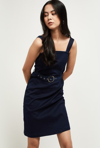 MAX Solid Denim Dress with Belt
