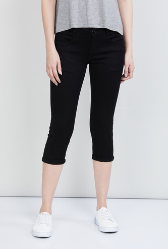 MAX Solid Denim Capris