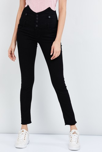 MAX Solid High-Rise Skinny Fit Jeans