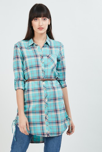 MAX Checked High-Low Shirt Tunic