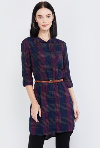 MAX Roll-Up Sleeves Checked High-Low Shirt Tunic