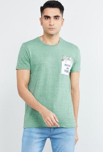MAX Textured Regular Fit Crew-Neck T-shirt