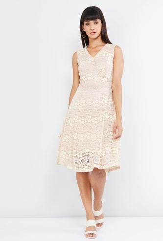 MAX Floral Lace A-line Dress with Surplice Neck
