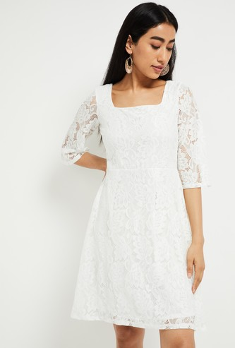 MAX Styled Back A-line Lace Dress
