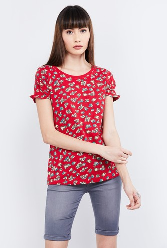MAX Floral Print Short Sleeves Top