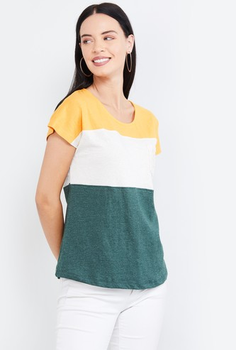 MAX Colourblocked Cap Sleeves T-shirt