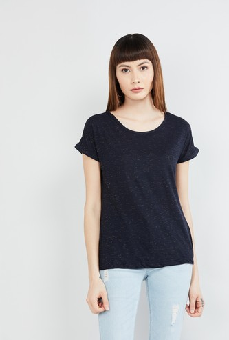 MAX Textured Round-Neck T-shirt with Upturned Hems