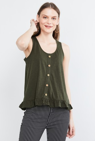 MAX Solid Button Detail Ruffled Hem Top