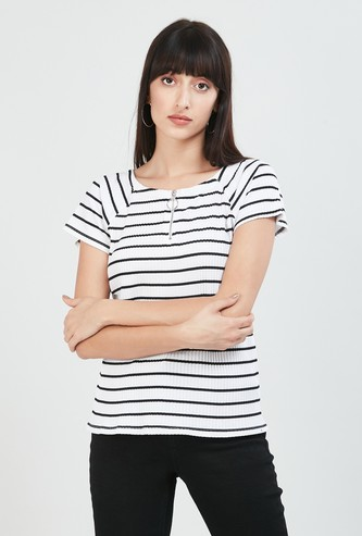 MAX Striped Ribbed Top with Raglan Sleeves