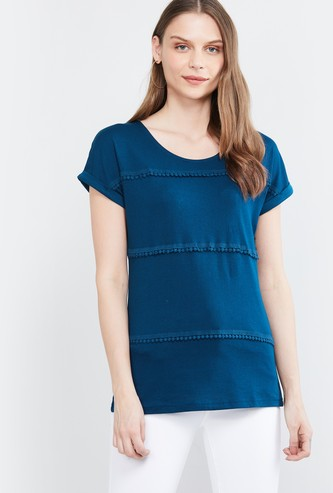 MAX Round-Neck T-shirt with Bobble Trim
