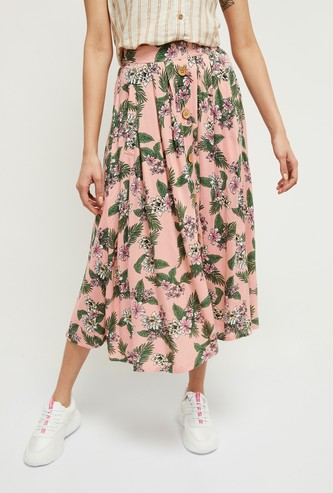 MAX Floral Print Eco Liva A-line Skirt