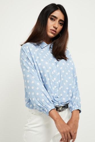 MAX Polka Print Knotted Hem Shirt