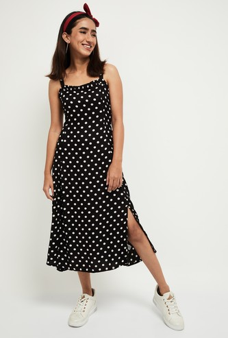 MAX Polka-Dot Print A-line Midi Dress