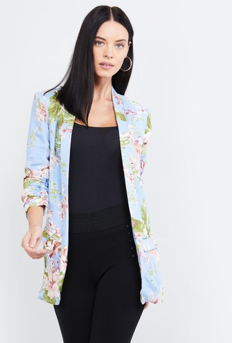 MAX Floral Print Open-Front Jacket