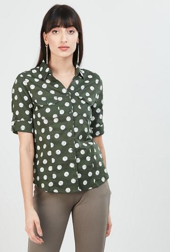 MAX Polka Dots Print Casual Shirt