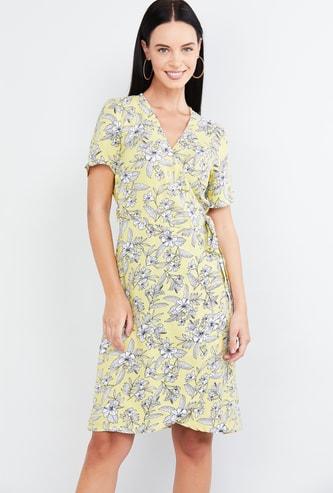 MAX Floral Print Wrap Dress with Surplice Neck