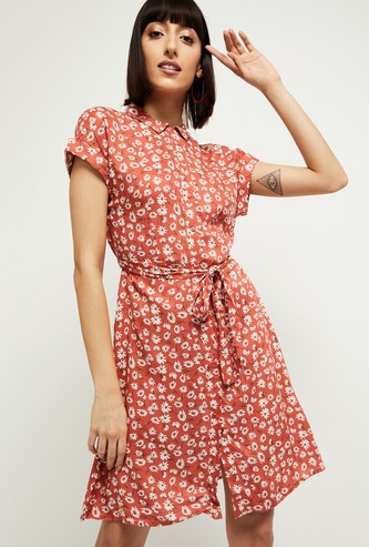 MAX Printed Eco Liva Shirt Dress with Stylised Back