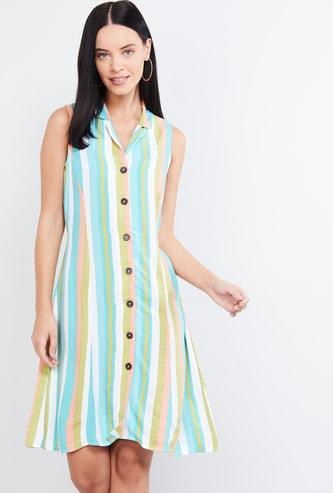 MAX Striped Eco Liva Collared Dress