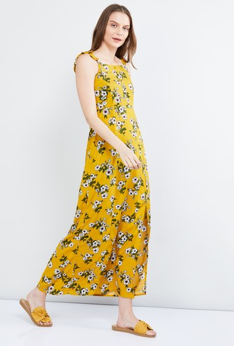 MAX Printed A-line Eco Liva Maxi Dress with Side Slit