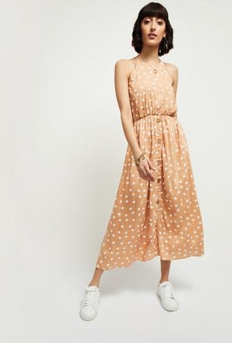 MAX Polka Dot Print Eco Liva Midi Dress
