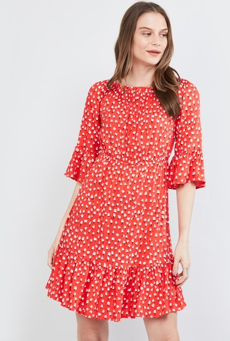 MAX Floral Print Eco Liva A-line Dress with Bell Sleeves