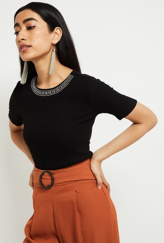 MAX Textured Short Sleeves Knit Top