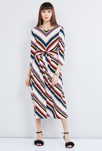 MAX Striped Midi Dress