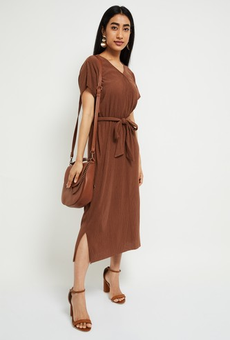 MAX Solid Wrap Midi Dress