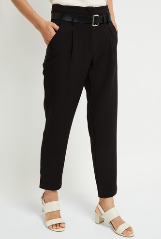 MAX Solid Slim Fit Cropped Trousers with Belt