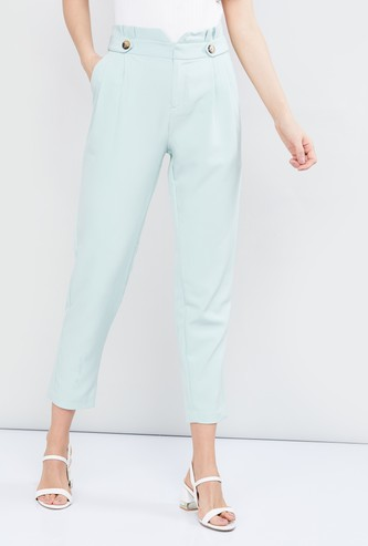 MAX Solid Cropped Pleated Trousers