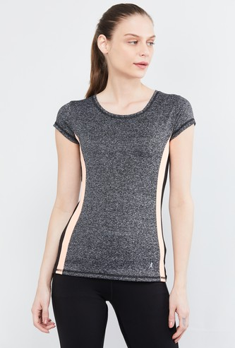 MAX Melange Panelled Cap Sleeves Training T-shirt