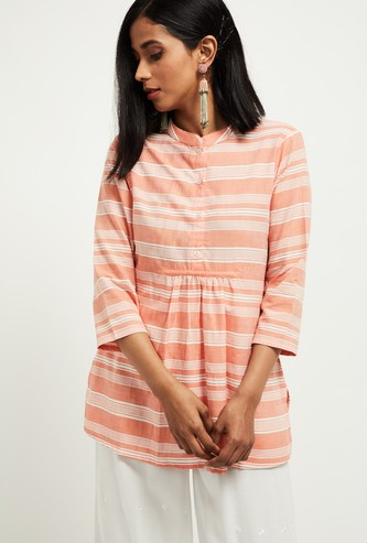 MAX Striped Band Collared Top