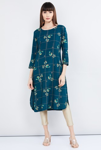 MAX Printed Curved Hem Straight Kurta