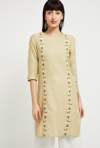 MAX Embroidered Three-Quarter Sleeves Straight Kurta