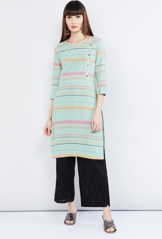 MAX Striped Round Neck Straight Kurta