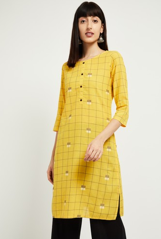 MAX Windowpane Checked Straight Kurta