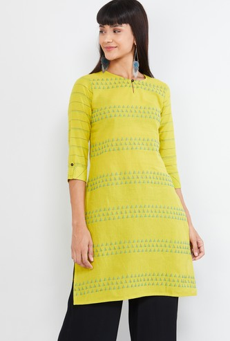 MAX Patterned Notch Neck Straight Kurta