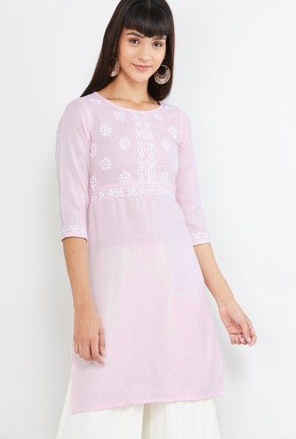 MAX Floral Embroidery A-line Kurti