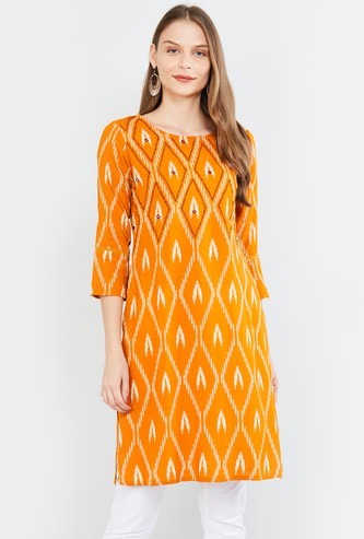 MAX Printed Three-Quarter Sleeves Straight Kurta