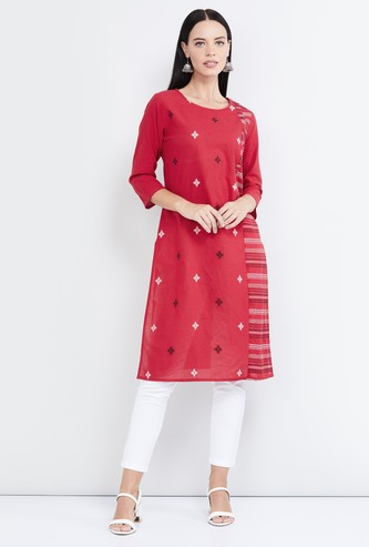 MAX Jacquard Patterned Straight Kurta