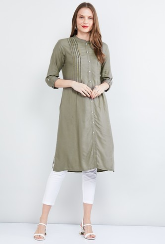 MAX Solid Band Collar A-line Kurta