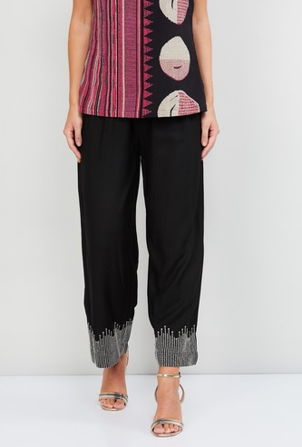 MAX Embroidered Hem Palazzos