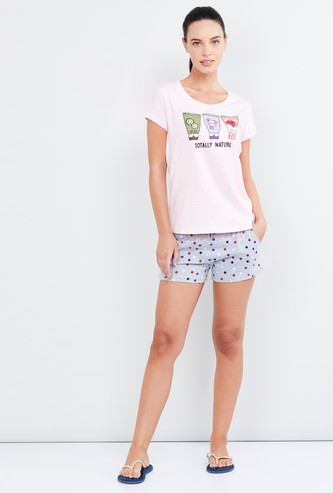 MAX Printed T-shirt and Elasticated Shorts