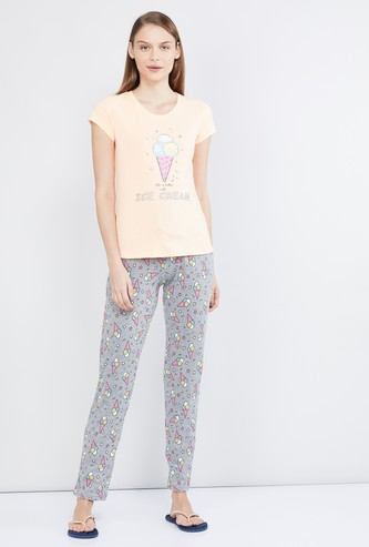 MAX Graphic Print Lounge T-shirt with Pyjama Pants