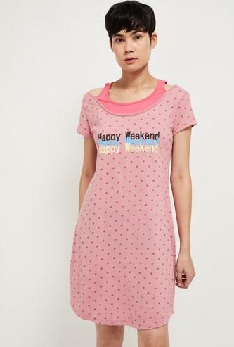 MAX Typographic Print Boat-Neck Night Dress