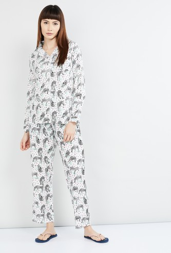 MAX Printed Button-Down Shirt with Pyjamas
