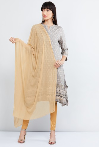 MAX Solid Dupatta with Embellished Border