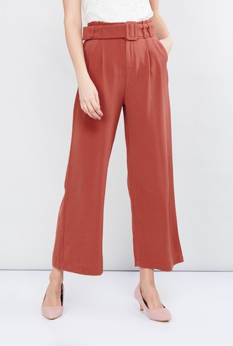 MAX Solid Palazzos With Belt