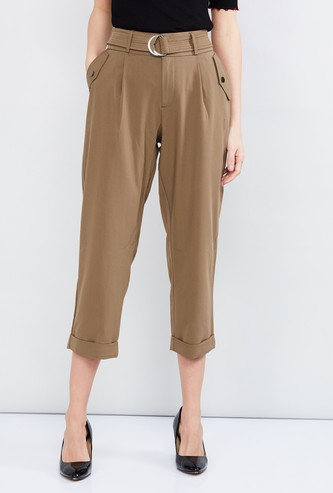 MAX Solid Cropped Pants with Belt