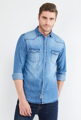 MAX Stonewashed Full Sleeves Slim Fit Denim Shirt